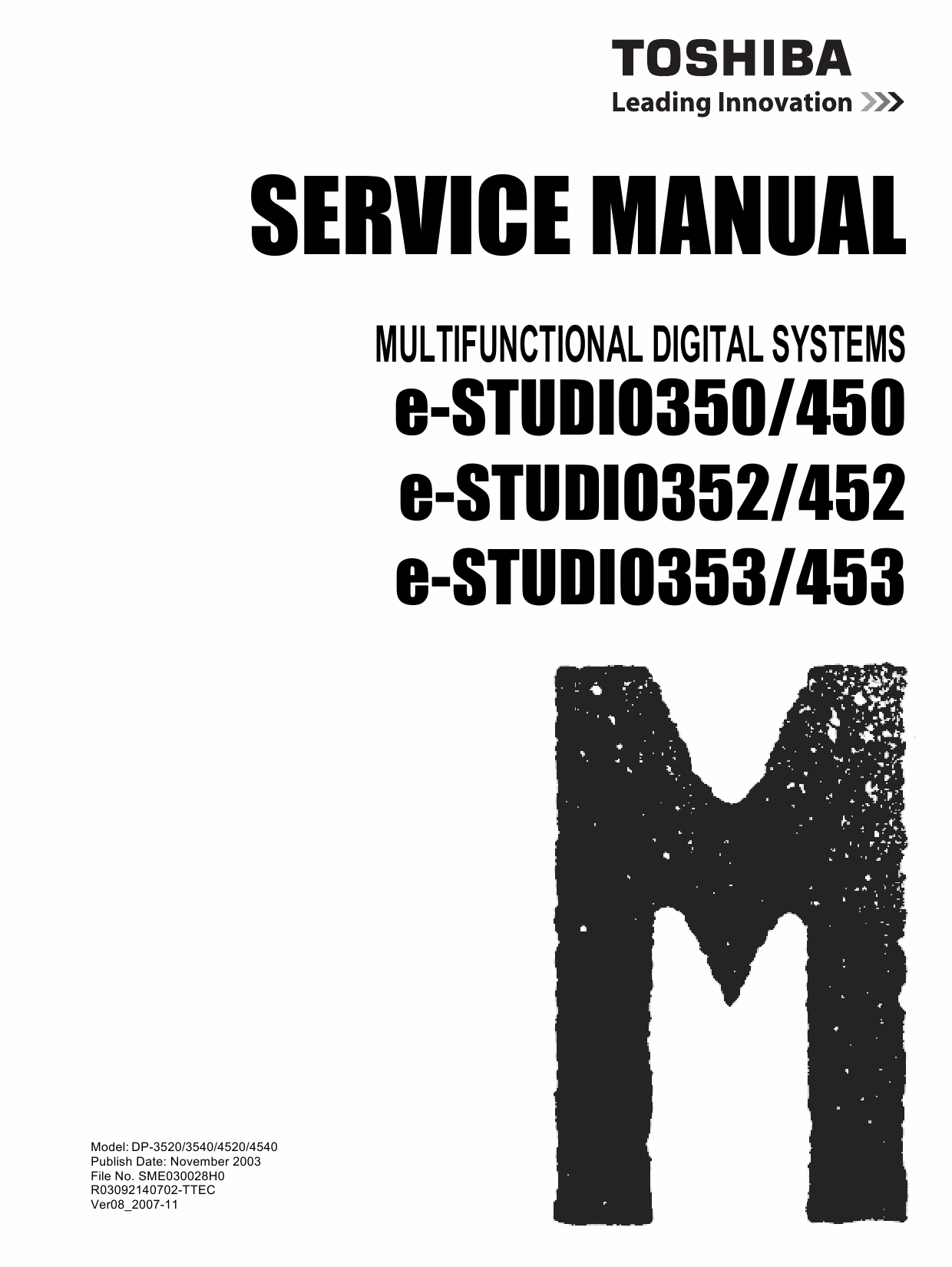 TOSHIBA e-STUDIO 350 450 352 452 353 453 Service Manual-1